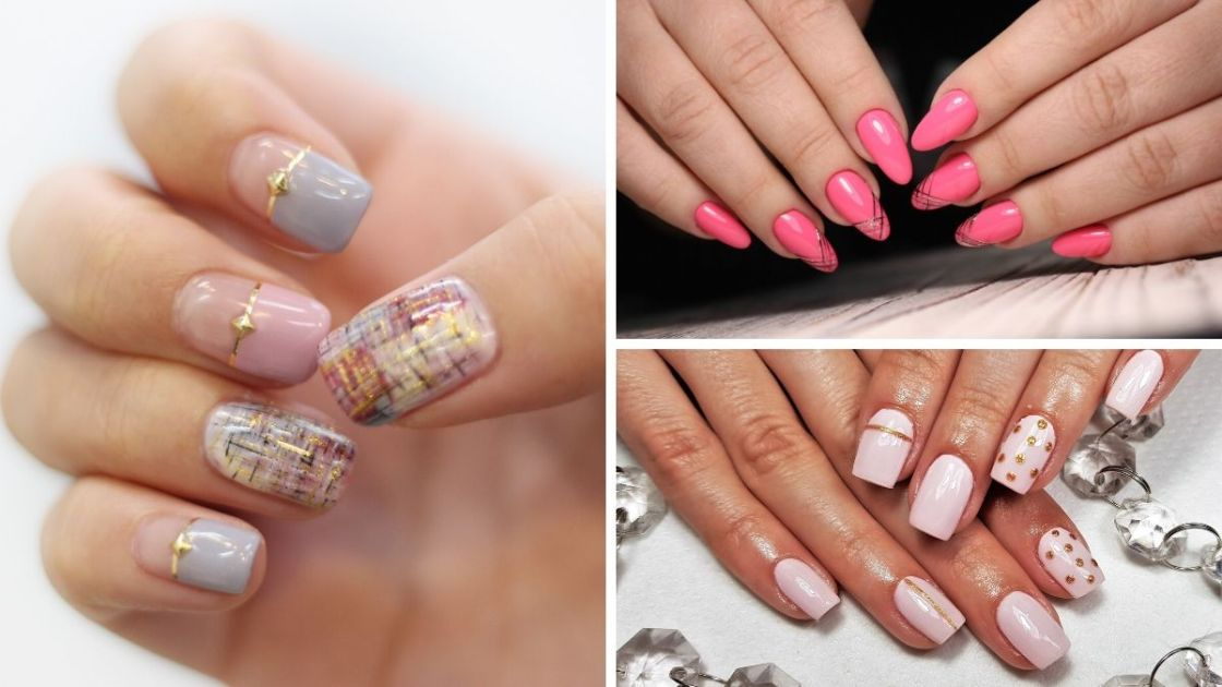 Unhas decoradas com fita metalizada - [Foto 1: Canva] [Fotos 2 e 3: shutterstock]