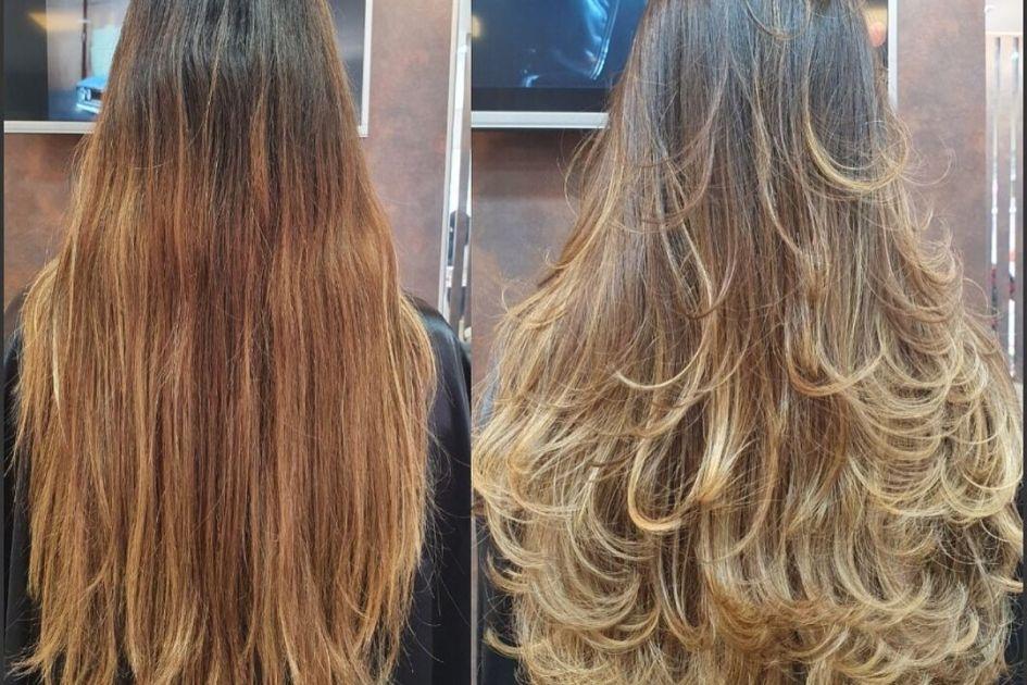 Antes e depois do corte em camadas no cabelo longo