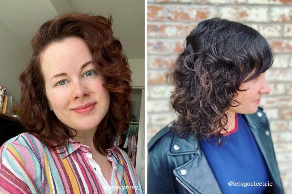 Mulheres com cabelos curtos enrolados