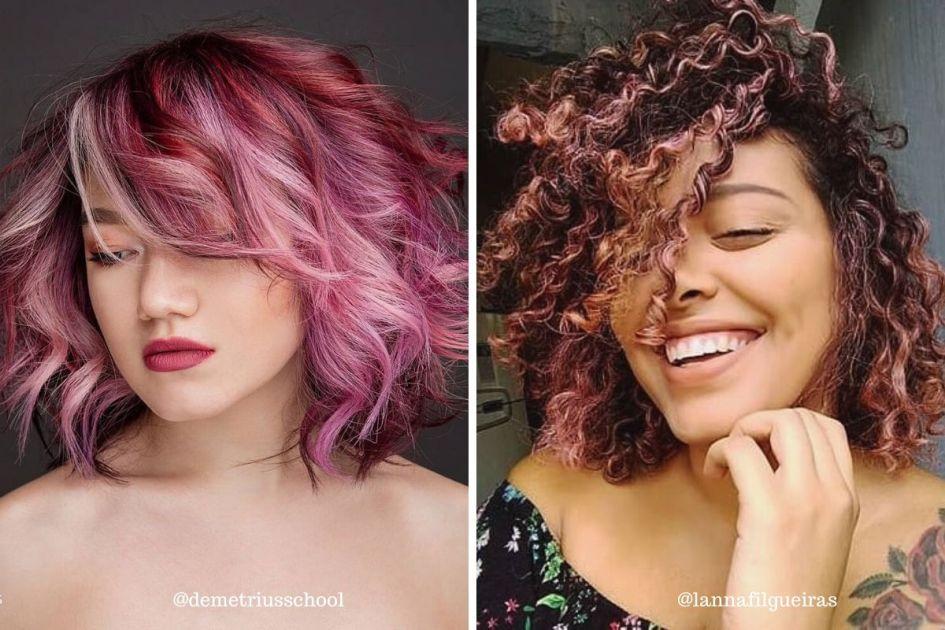Mulheres de cabelos coloridos com corte curto