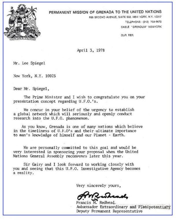 Carta de 1978 de Grenada a Lee Speigel confirmando o compromisso do país em patrocinar a investigações de OVNI