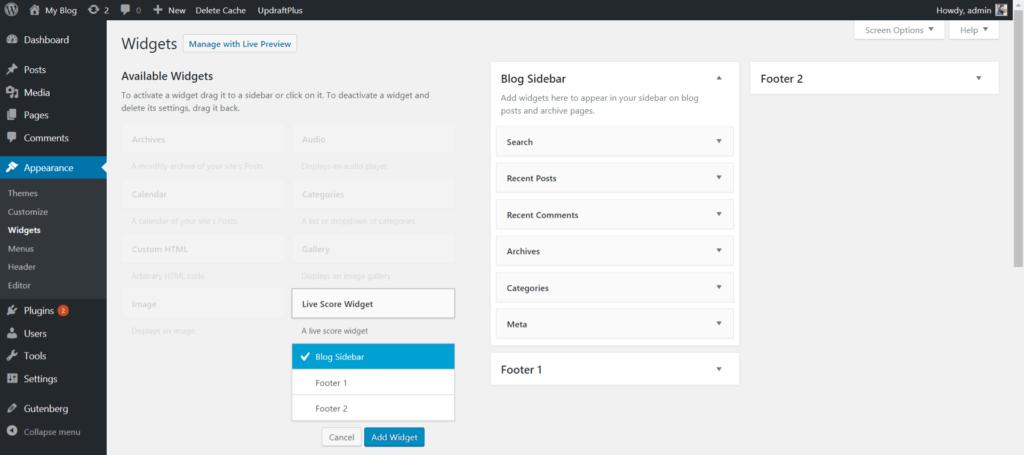 Adding Widget in WP Admin