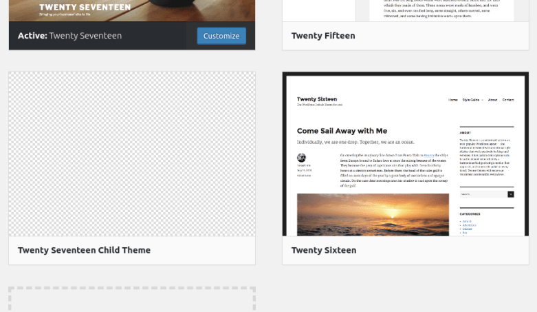 Choosing your WordPress child theme in the WordPress themes section