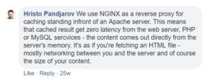 Screenshot of a Facebook reply from SiteGround