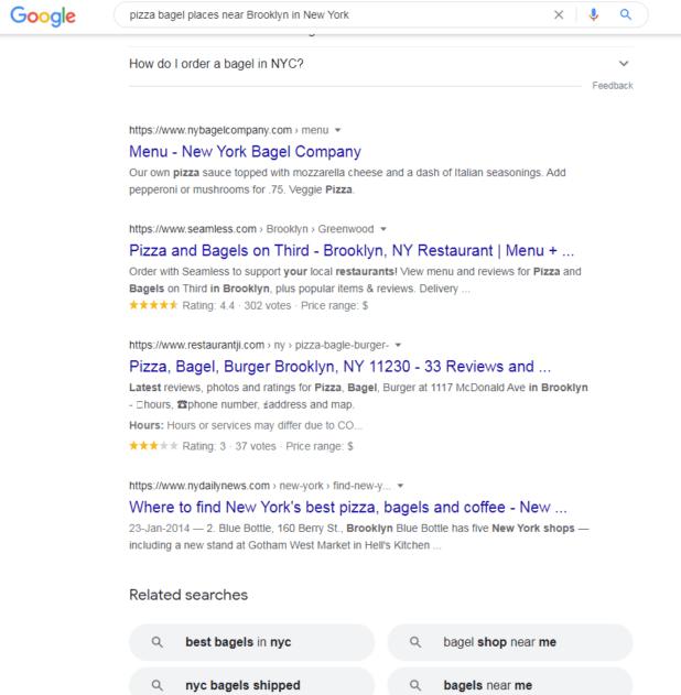 مثال طويل للبحث عن الكلمات الرئيسية على Google