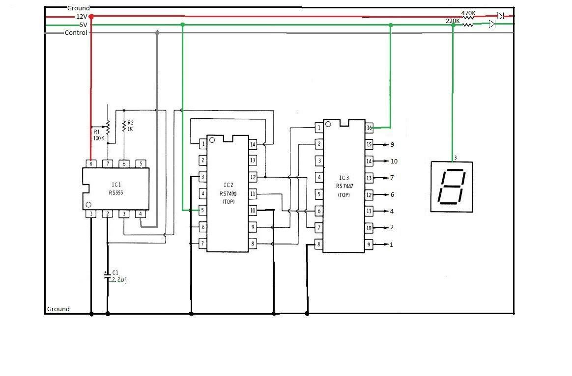 hight resolution of circuit sketch video of our working 7 segments display counting from 0 to 7