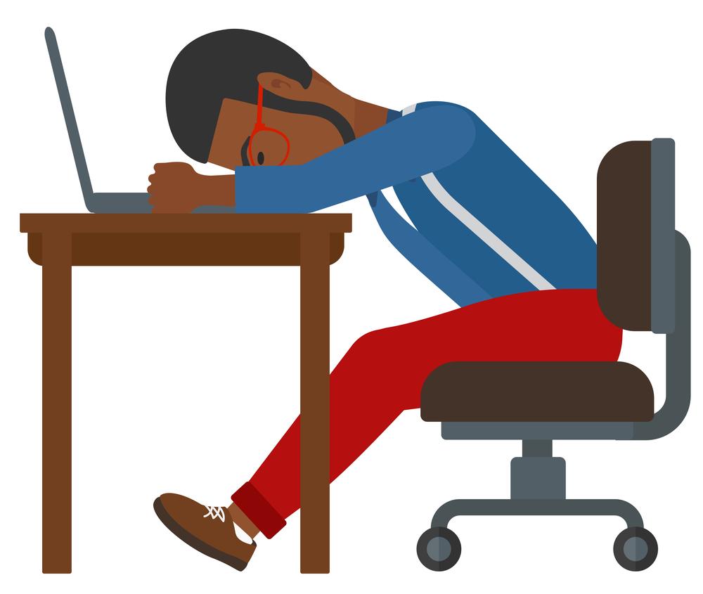 Man sleeping on workplace.