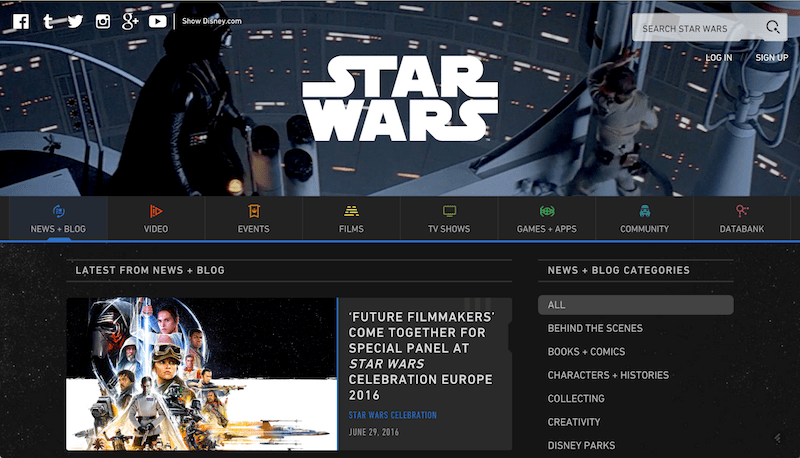 Star Wars Blog Website