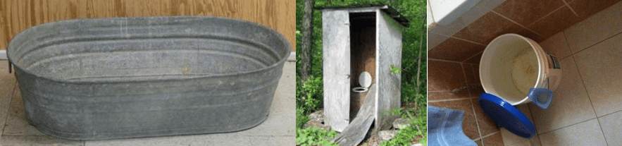 Travis' bath tub and outhouse toilet when growing up.