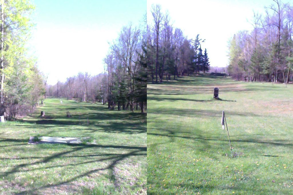 Dan's backyard golf course and shooting range, all built by him in his spare time.