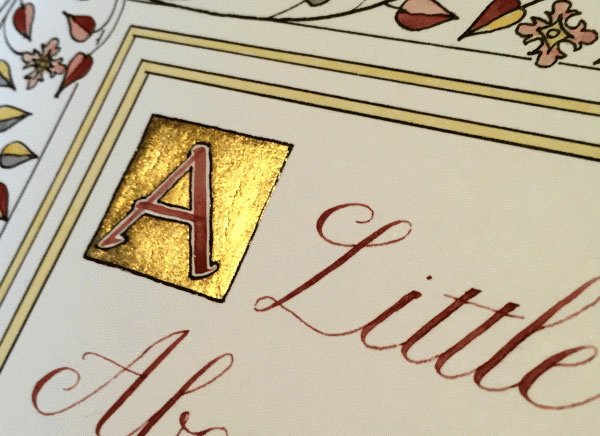Another example of Katharine's commissioned art work, including a gilded initial.