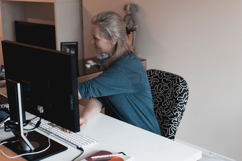Heidi in her work-at-home office.