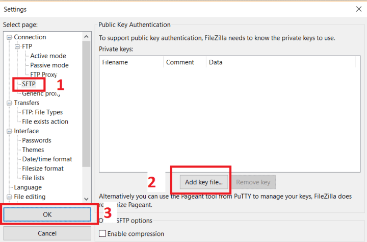 Add Private Key to FileZilla