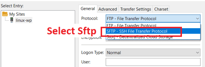 Choose SFTP in FileZilla