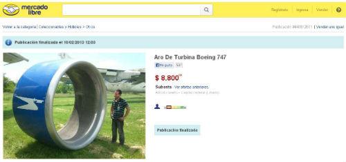 vende partes de aviones por MercadoLibre