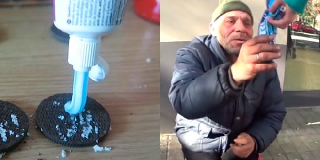 Le da galletitas Oreo con pasta de dientes a un indigente para conseguir mas visitas en Youtube