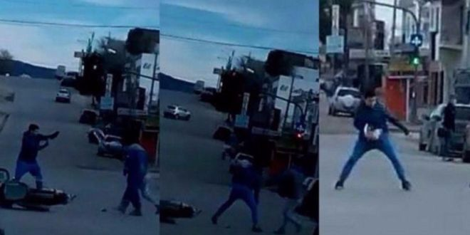 Video: Le intentaron robar la moto y mirá como se defendió