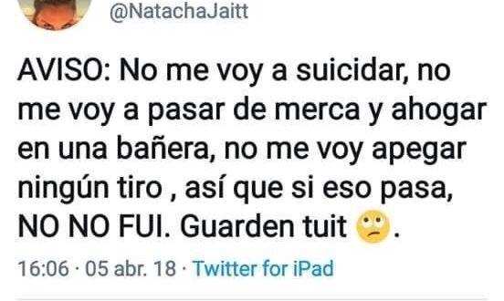 Los sugestivos y misteriosos últimos tuits de Natacha Jaitt