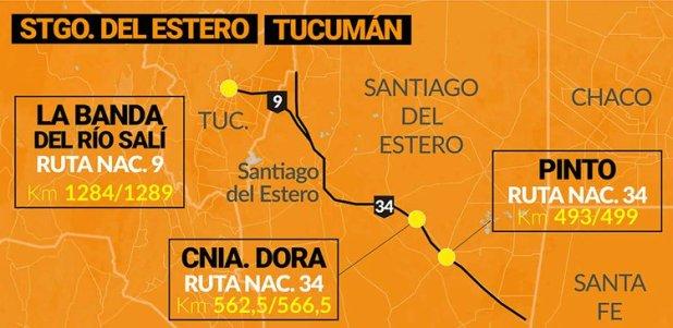 Ubicación de radares en la ruta 2 y principales corredores turísticos de Argentina