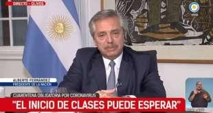 """Alberto Fernández: """"El inicio de las clases puede esperar"""""""