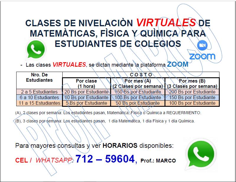 CLASES DE NIVELACION PARA COLEGIOS (AGUA)