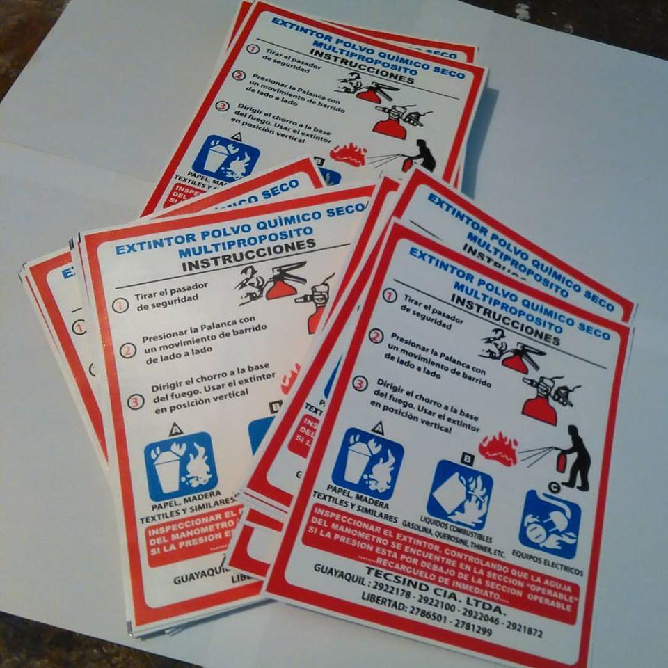 Etiquetas adhesivas para extintores