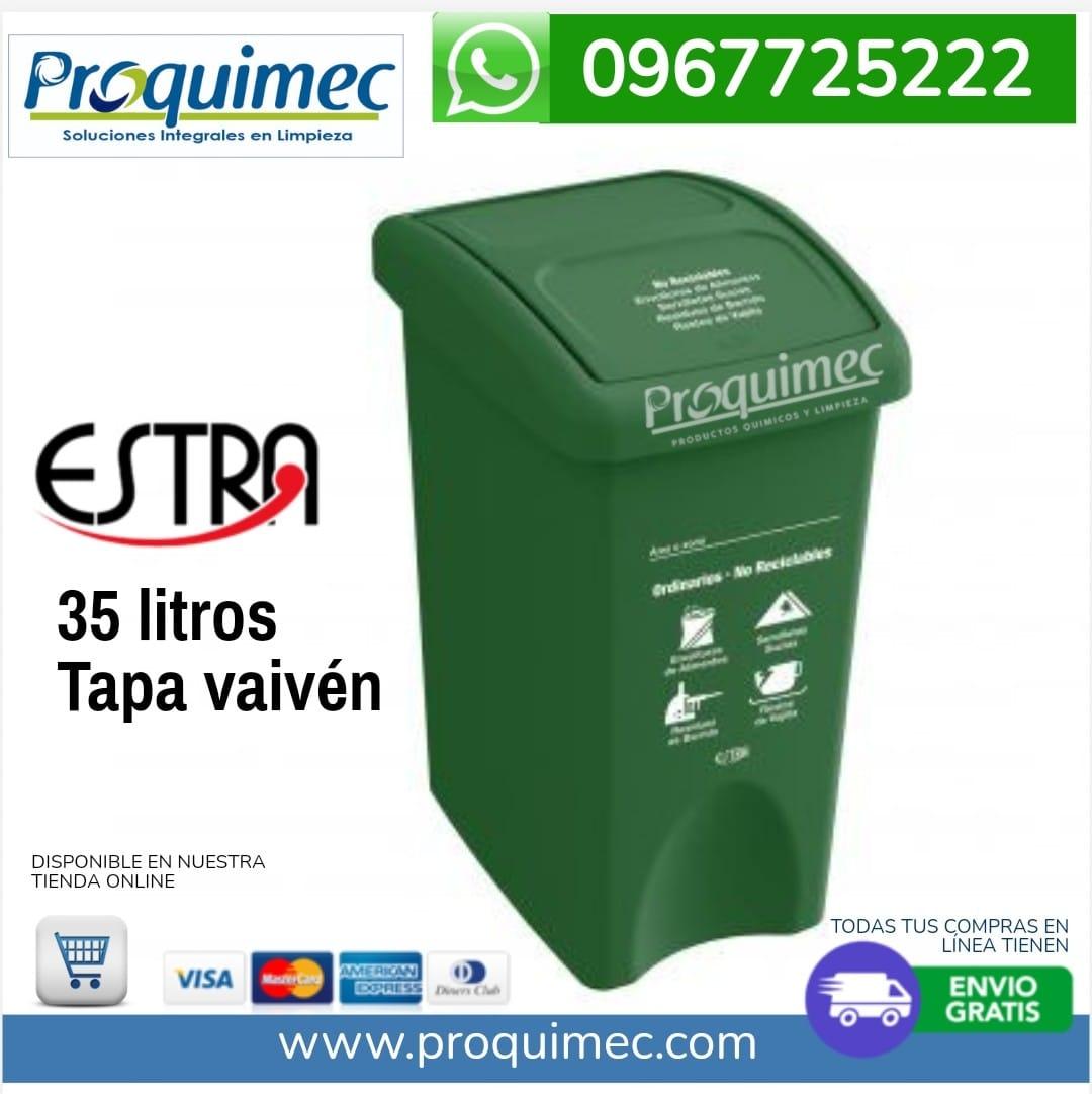 papelera Estra 35 litros tapa vaiven verde