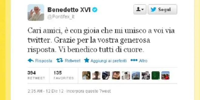 Primer twitter del Papa Benedicto XVI
