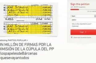 Cientos de miles de peticiones piden la renuncia de Rajoy