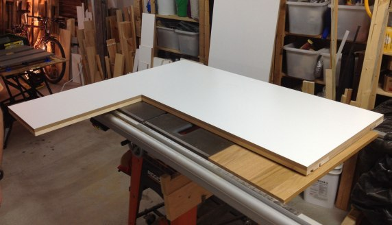 The left hand side of the desk top assembled
