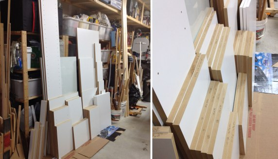 The pieces of the desk ready to be assembled
