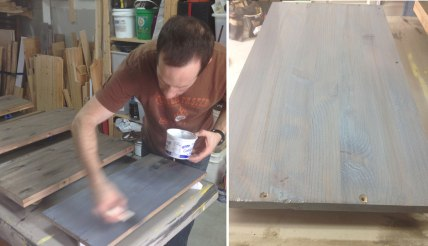 Staining the floating shelves with a 'weathered look' concoction.