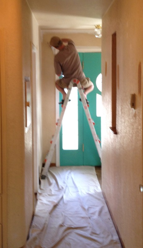 OK we did let the men in the house for a little while.  Dad on ceiling duty!