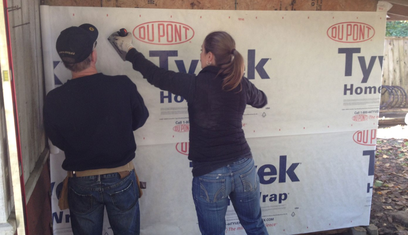 Wrapping the shed in tyvek