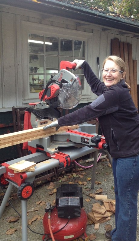 She is so excited that we showed her how to use the power tools.