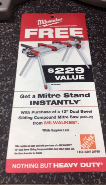 A free stand with the saw...must send to Adam