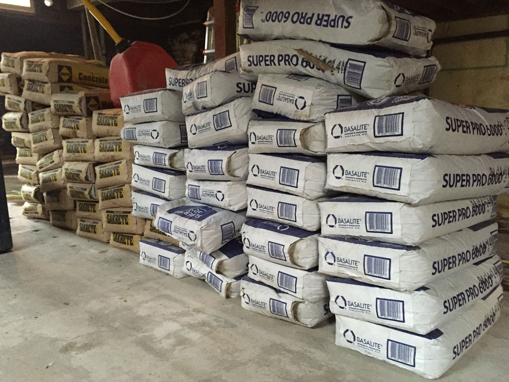 All of this cement will soon be new footings for our new posts for our new beam.