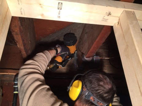 Nailing the joist hangers