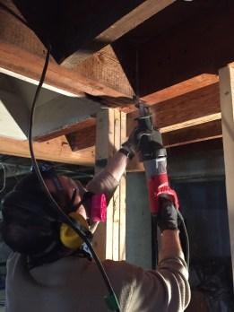Cutting the floor joists