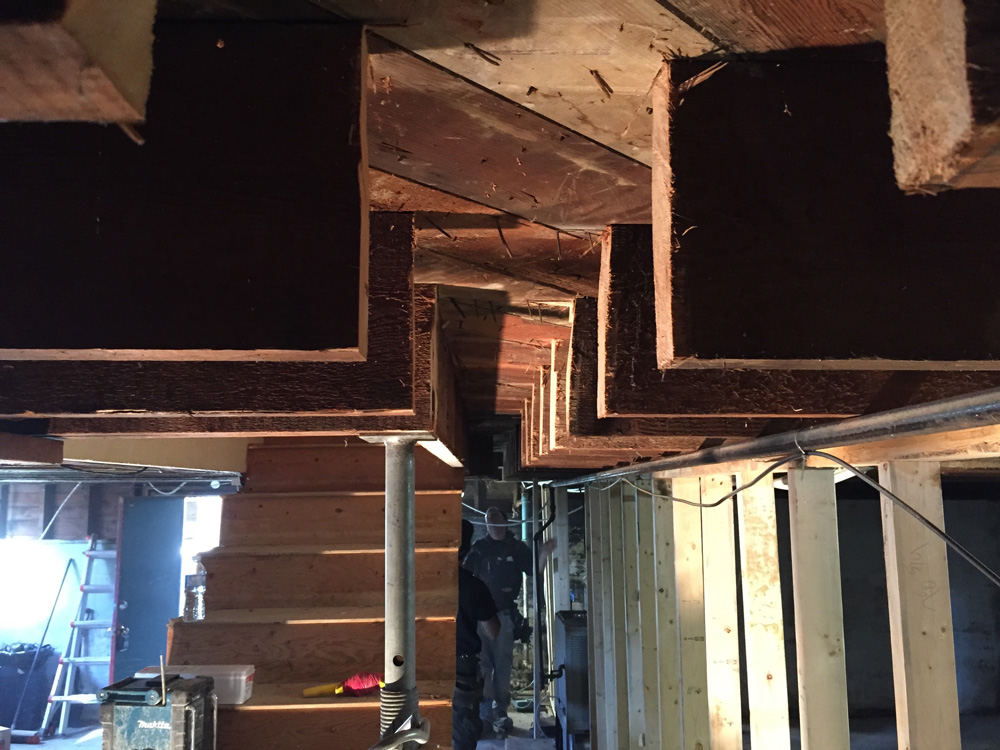 A major gap in all of our floor joists.