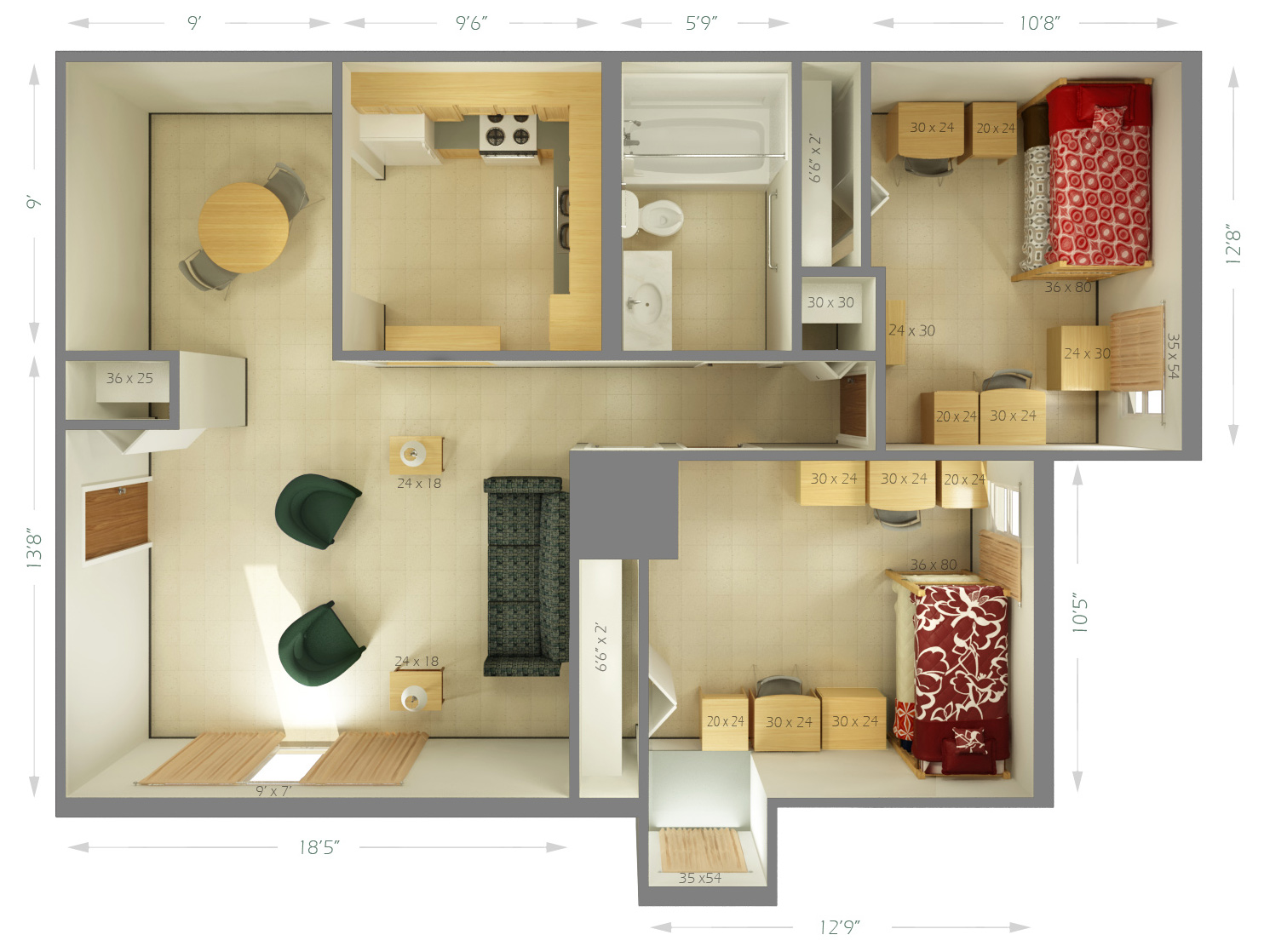 size of a living room simple interior images university housing cougar village dimensions siue 2 shared bedrooms