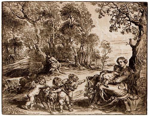 Rubens, Peter Paul, Langtitel: Flucht nach Ägypten, vierte Fassung, um 1635 46,3 × 60,3 cm, Clair-Obscure-Holzschnitt, eine Schwarzplatte, zwei Tonplatten Amsterdam, Rijksmuseum, Rijksprentenkabinet
