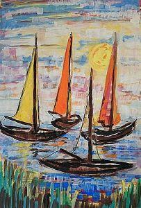 """Rudolf Fehling (1905-1989), """"Segelboote"""", Tempera auf Papier (undatiert) , © Siegerlandmuseum im Oberen Schloss)."""