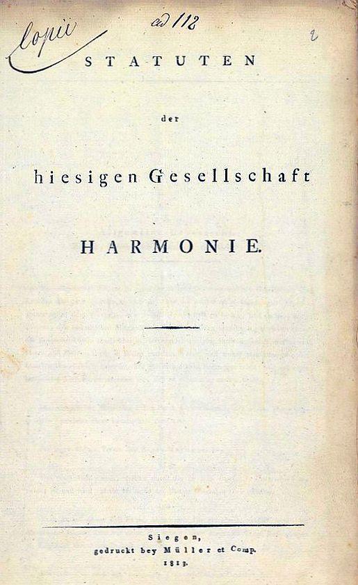 Deckblatt der Statuten der Siegener Gesellschaft Harmonie (LAV NRW W Fürstentum Oranien-Nassau, Geheimes Ratskolleg Dillenburg, fol. 2r)