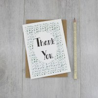Thank You Card handmade in Ireland by six0six design