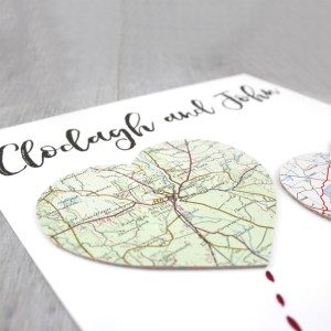 two map hearts personalised wedding gifts