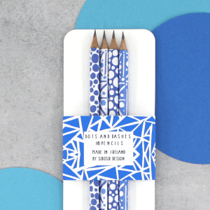 blue pattern pack of pencils by six0six design