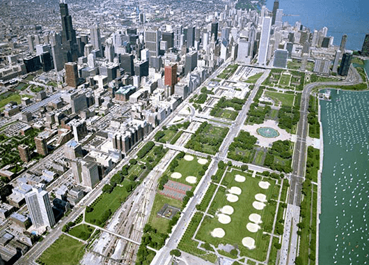 Aerial view of Grant Park (Source: Museum of the City)