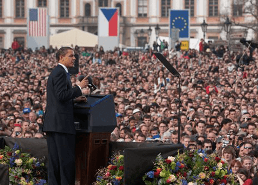 President Obama Giving the Prague Speech (Source: The White House)