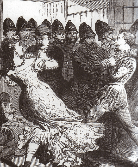 Illustration of Police Raid of a Drag Ball in Hulme, Manchester (Source: Wikimedia Commons)